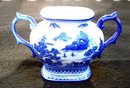 ORIENTAL BLUE AND WHITE MOUNTAIN SCENE SUGAR BOWL