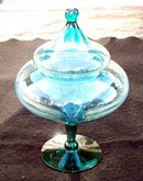 GREEN OR TEAL DELICATE THIN GLASS CANDY DISH WITH LID