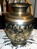 BRASS AND BLACK WITH ETCHING VASE