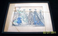 FRAMED GODEY WITH HAND TINTING FROM 1868 - FREE SHIPPING FOR USA --