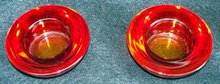 PAIR OF HEAVY RUBY RED VOTIVE OR TEA CANDLE HOLDERS
