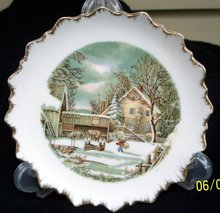 CURRIER AND IVES WALL PLATE THE FARMERS HOME - WINTER