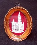 BRUSSELS SOUVENIR LACE OR  EMBROIDERED FRAMED  PICTURE