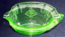 GREEN  VASELINE OR URANIUM OR DEPRESSION GLASS CREAMER