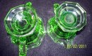 GREEN VASELINE OR URANIUM GLASS SUGAR AND CREAMER SET