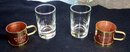 PAIR OF SAMBUCCA ROMANA CAFFE GLASSES WITH METAL HOLDERS AND HANDLES