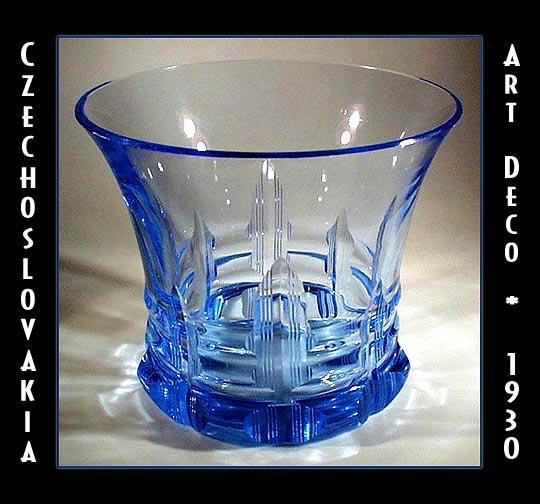 CZECH ART DECO AQUA CUT GLASS VASE