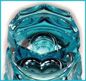 CZECH TURQUOISE CUT GLASS VASE / MOSER ?