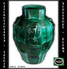 CZECH ART DECO MALACHITE COLOR GLASS VASE /
