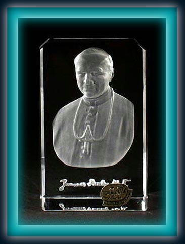 POPE JOHN PAUL CRYSTAL PLAQUE