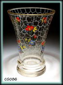 1930's DECORATED HANDBLOWN GLASS CZECH VASE