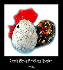 CZECH MULTICOLOR ART GLASS ROOSTER