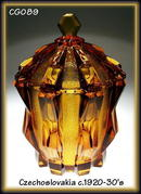 CZECH CUBIST LIDDED TOPAZ color GLASS BOWL