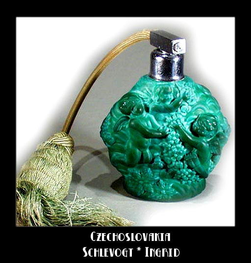 CZECH MALACHITE COLOR GLASS ATOMIZER 1930's