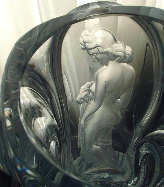 CZECH ART DECO ENGRAVED CRYSTAL FIGURAL FEMALE VASE