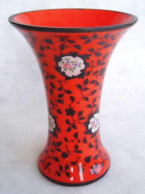 CZECH RED/ORANGE BRONZIT TANGO GLASS VASE