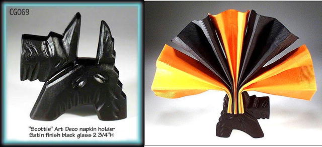 4 CZECH FIGURAL BLACK SCOTTIE NAPKIN HOLDER