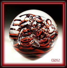 GORGEOUS SIGNED R/B SEAWEED PAPERWEIGHT