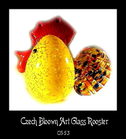 SGND HANDBLOWN MULTICOLOR ART GLASS ROOSTER