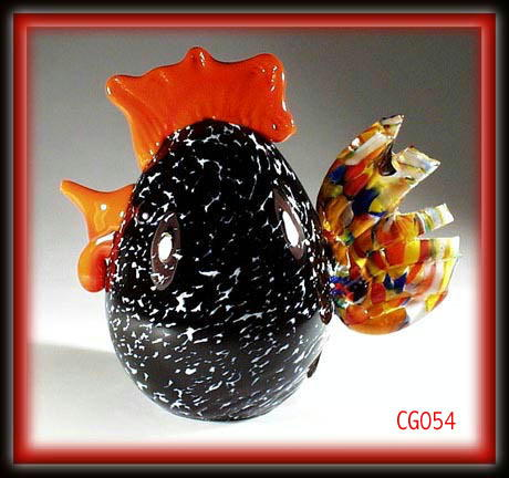 SGND HANDBLOWN BLACK / RED ART GLASS ROOSTER