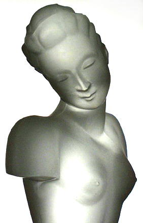CZECH ART DECO GLASS SCULPTURE NUDE FEMALE