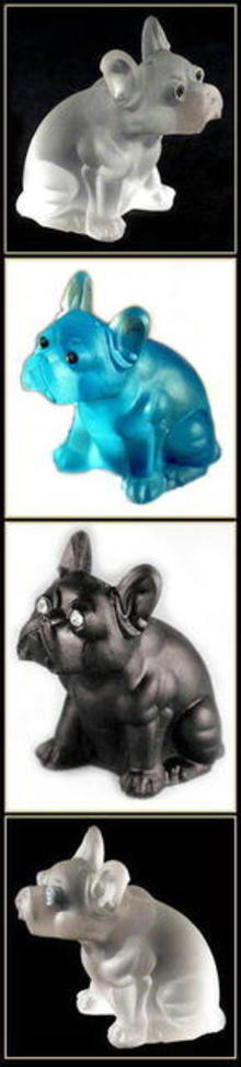 3 GLASS BULLDOG FIGURINES - AQUA, CRYSTAL,