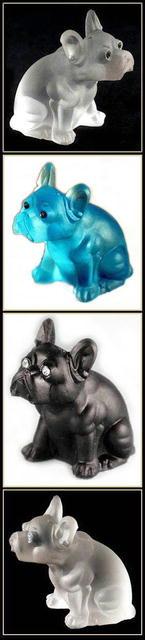 3 GLASS BULLDOG FIGURINES - AQUA, CRYSTAL,