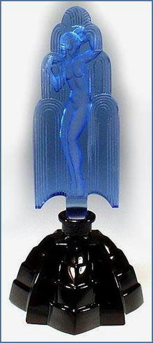 CZECH DECO PERFUME BOTTLE NUDE IN THE FOUNTAIN