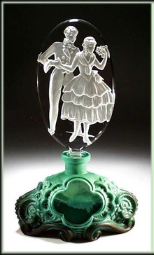 CZECH COURTING PAIR FIGURAL PERFUME BOTTLE