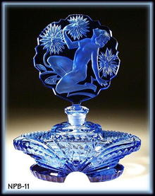 CZECH PERFUME BOTTLE BLUE CHRYSANTHEMUM NUDE