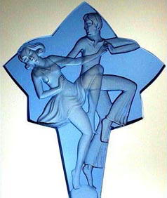 CZECH  PERFUME BOTTLE BLUE BALLROOM DANCERS