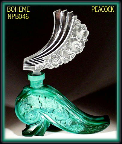 CZECH MALACHITE GLASS PEACOCK PERFUME BOTTL