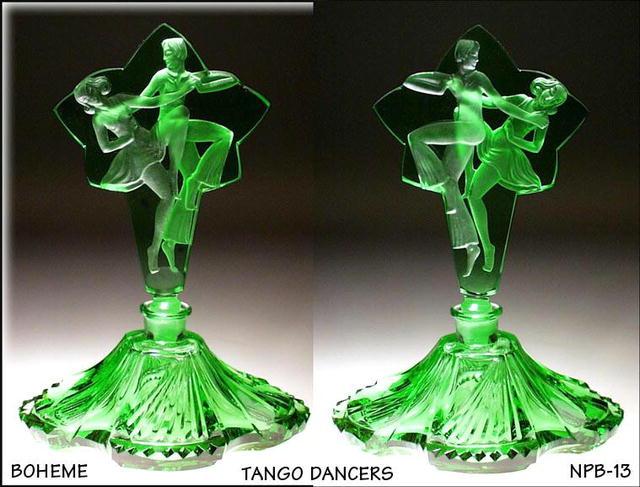 CZECH PERFUME BOTTLE GREEN BALLROOM DANCERS