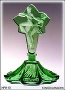 CZECH PERFUME BOTTLE GREEN BALLROOM DANCERS