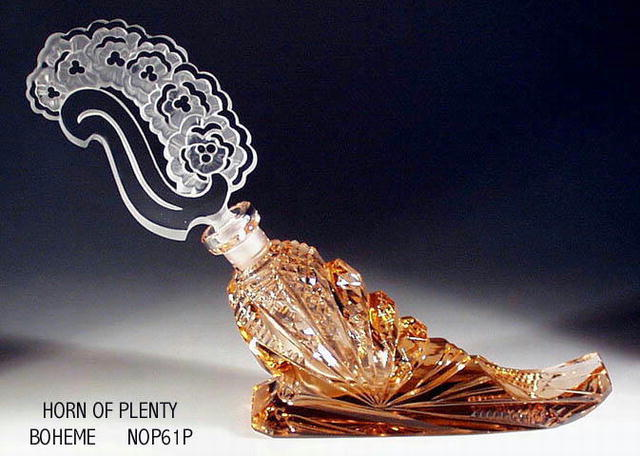 CZECH FIG. PINK HORN OF PLENTY PERFUME BOTTLE