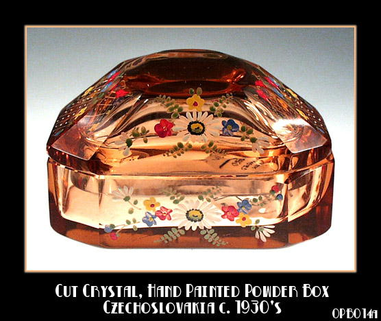 CZECH ENAMELED PERFUME POWDER BOX 1920'S