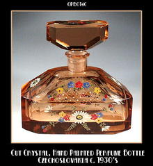 CZECH ENAMELED PERFUME BOTTLE 1920'S