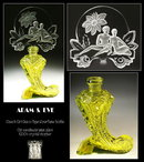 CZECH  ADAM & EVE URANIUM GLASS PERFUME BOTTLE