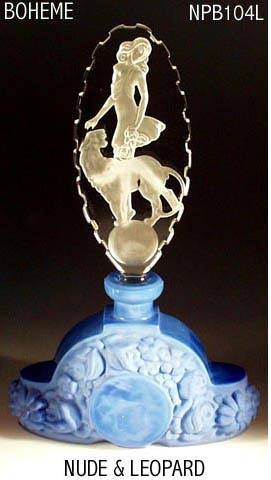 CZECH LAPIS GLASS FEMALE & LEOPARD PERFUME BOTTLE