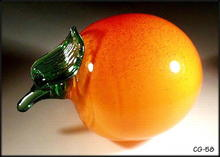 SIGNED STUDIO ART GLASS FRUIT / PEACH