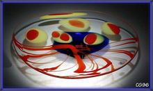 SIGNED CZECH ABSTRACT ART GLASS CENTERPIECE