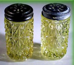 RARE EAPG VASELINE GLASS SALT & PEPPER