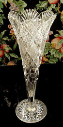 CUT GLASS TRUMPET VASE AMERICAN BRILLIANT