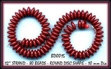 80 BURGUNDY RED DISC SHAPE GLASS BEADS #15