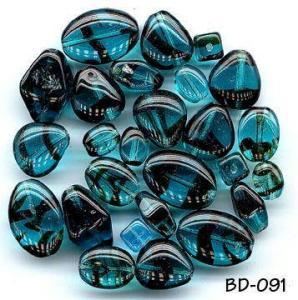 CZECH VINTAGE BLUE STRIPE GLASS BEADS 7mm