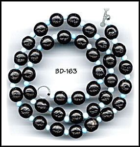 """CZECH VINT BLK/BLUE GL BEADS 17"""" STRAND #163"""