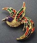 SIGNED ENAMELED TROPICAL BIRD BROOCH
