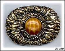 CZECH VINTAGE FAUX TIGER EYE GLASS BROOCH 248