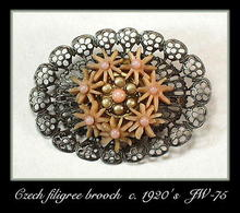 CZECH GURTLER FILIGREE BROOCH 1920's