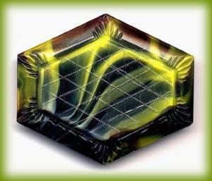 CZECH ART DECO GLASS BROOCH 1920-30 #92